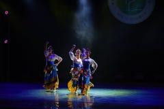 Tibetan girl Zhuoma-The national folk dance Stock Photos