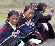 Tibetan girls Stock Photo