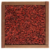 Tibetan goji berries (wolfberry) in wooden box Royalty Free Stock Photos