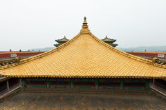 Tibetan hall in landscape architecture of an ancient temple Stock Photography