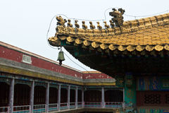 Tibetan hall in landscape architecture of an ancient temple Stock Image