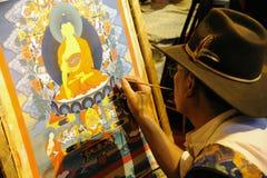 Tibetan het schilderen tangka Stock Afbeeldingen