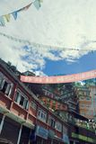 Tibetan House. A view of houses with traditional architecture, in a Tibetan city Royalty Free Stock Photos