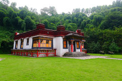Tibetan House. Tibetan dwelling houses on the meadow stock photography