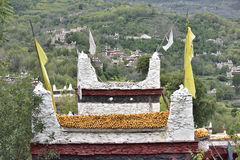 Tibetan household building roof structure close-up Royalty Free Stock Photo