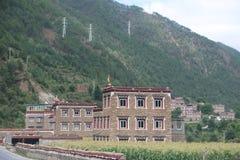 tibetan houses stock photo