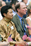 Tibetan immigrant. And 76 new American citizens at Independence Day Naturalization Ceremony on July 4, 2005 at Thomas Jefferson's home, Monticello Stock Photo