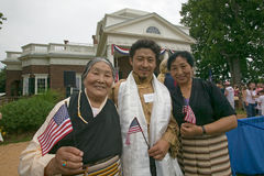 Tibetan immigrant and family. And 76 new American citizens at Independence Day Naturalization Ceremony on July 4, 2005 at Thomas Jefferson's home, Monticello Royalty Free Stock Photos