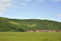 Tibetan Kham houses in the Barley field Stock Photo