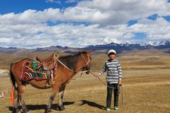 Tibetan kid pulling horse stock photo