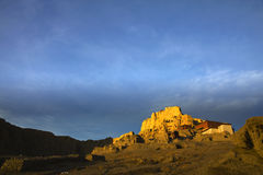 Tibetan kingdom castle. The ruin of Guge kingdom castle in the morning, Ngari of Tibet, China Royalty Free Stock Photography