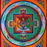 Tibetan konst av väggmålningen Arkivfoton