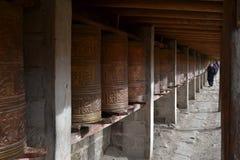 The Tibetan kora or pilgrimage and prayer wheels in Zoige, Amdo royalty free stock photos