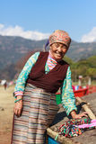 Tibetan lady selling Royalty Free Stock Photography
