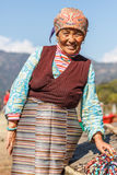 Tibetan lady in traditional costume Royalty Free Stock Image