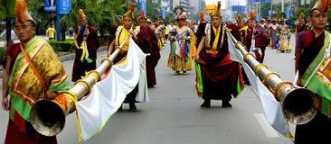 Tibetan lama blow long horn Stock Photography