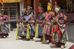 Tibetan lama dressed in mask dancing Tsam mystery dance on Buddhist festival at Hemis Gompa. Ladakh, North India Royalty Free Stock Image