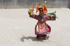 Tibetan lama dressed in mask dancing Tsam mystery dance on Buddhist festival at Hemis Gompa. Ladakh, North India Royalty Free Stock Photography