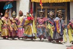 Tibetan lama dressed in mask dancing Tsam mystery dance on Buddhist festival at Hemis Gompa. Ladakh, North India Stock Image