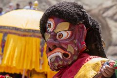 Tibetan lamas dressed in mystical mask dance Tsam mystery in time of buddhist festival at Hemis Gompa, Ladakh, North India stock images