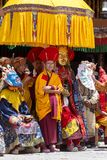 Tibetan lamas dressed in mystical mask dance Tsam mystery in time of buddhist festival at Hemis Gompa, Ladakh, North India Stock Photography