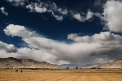 Tibetan landscape. With clouds and blue sky Stock Image