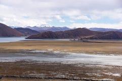 Tibetan landscape near holy lake Yamdrok - Tibet Royalty Free Stock Photo
