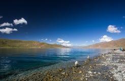 Tibetan landscape. Yang Lake next to Lhasa city Royalty Free Stock Image