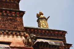 Tibetan life. Listen to the lecture of the Lama(in Labrang Lamasery Stock Photo