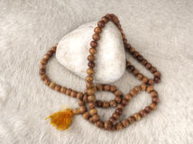 Tibetan mala with 108 beads. Royalty Free Stock Photo