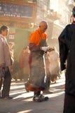 Tibetan Male Prostrator Lhasa Morning Stock Photo
