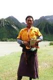 Tibetan man. Portrait of a Tibetan pilgrim while approaching Lhasa Royalty Free Stock Image