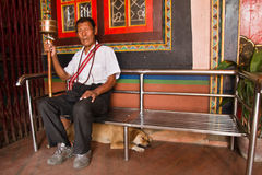 Tibetan man, Katmandu Nepal Arkivfoton