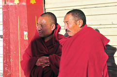 Tibetan man. Pilgrims in the Jokhang Temple in Lhasa Royalty Free Stock Images