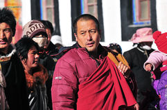 Tibetan man. Pilgrims in the Jokhang Temple in Lhasa Stock Images