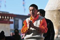 Tibetan man. Pilgrims in the Jokhang Temple in Lhasa Royalty Free Stock Photography