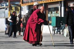 Tibetan man. Pilgrims in the Jokhang Temple in Lhasa Royalty Free Stock Photos