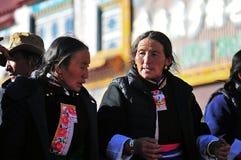 Tibetan man. Pilgrims in the Jokhang Temple in Lhasa Stock Image