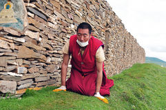 Tibetan man. In the west of sichuan province in china.  Shiqu country Stock Photo