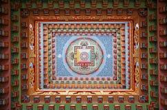 Tibetan mandala painting on monestery. Ceiling, Upper Pisang, Nepal Royalty Free Stock Photography