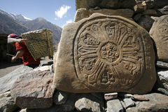 Tibetan mani prayer stones, annapurna Stock Photo