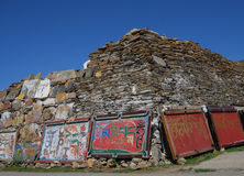 Tibetan Mani stone. Wall in Kang area,or China's Sichuan province Stock Image