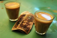 Tibetan Masala Tea. Sweet and fragrant Tibetan Masala tea at a restaurant in Lhasa,usually costs 0.3 yuan for one cup Stock Photo