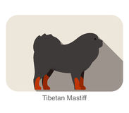 Tibetan Mastiff dog breed flat icon design. Vector illustration Stock Photo