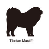Tibetan Mastiff dog silhouette, side view, vector Royalty Free Stock Images