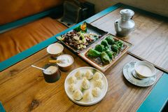 Tibetan meal. A table of delicious tibetan meal Royalty Free Stock Photo