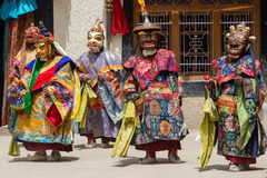 Tibetan men dressed mask dancing Tsam mystery dance on Buddhist festival at Hemis in Ladakh, North India Royalty Free Stock Photos