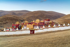 Tibetan monastery on the hill in Litang Royalty Free Stock Photo