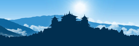 Tibetan monastery in himalayas landscape Royalty Free Stock Photography