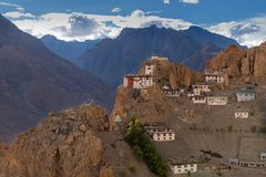 Tibetan Monastery perched on Mountain, Buddhist temple. Beautiful View of Dhankar Monastery in Spiti Valley, Himachal Pradesh. India. Dhankar gompa is one of the stock images